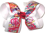 Large My Little Pony over White Double Layer Overlay Bow