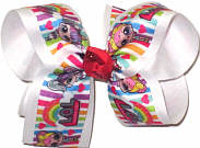 Large LOL Dolls over White Double Layer Overlay Bow