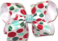 Large Red Green and Aqua Glitter Dots on white Satin over White Double Layer Overlay Bow