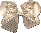 Large Platinum Metallic Snakeskin over Light Ivory Double Layer Overlay Bow