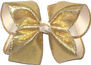 Large Gold Metallic Snakeskin over Lithe Ivory Double Layer Overlay Bow
