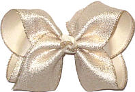 Large Lightly Sprinkled Gold Glitter over Light Ivory Double Layer Overlay Bow