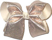 Large Rose Gold Metallic Sharkskin Over White Double Layer Overlay Bow