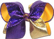 Large Metallic Purple and Metallic Gold over Yellow Gold NO GLITTER Double Layer Overlay Bow