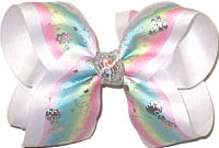 Large Silver Hologram Bows on Pink Blue Green and Yellow Pastel over White Double Layer Overlay Bow
