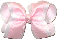Large Pink Lace Edge Grosgrain over White Double Layer Overlay Bow