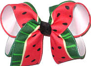 Large Watermelon Print over White Double Layer Overlay Bow