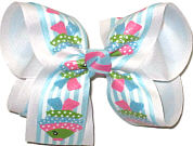 Large Tropic Fish over White Double Layer Overlay Bow