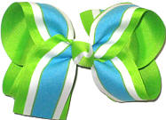 Large Turquoise White and Apple Green Double Layer Overlay Bow