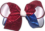 Large Red and Blue Glitter over White Double Layer Overlay Bow