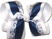 Large Printed Lace Pattern on Light Navy over White Double Layer Overlay Bow