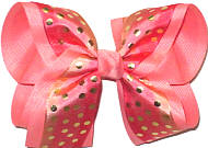 Large Varigated Coral with Metallic Gold Dots over Coral Double Layer Overlay Bow