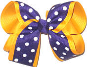 Purple with White Dots over Yellow Gold Large Double Layer Bow