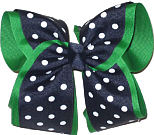Emerald and Navy MEGA Extra Large Double Layer Bow