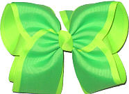 Neon Green over Neon Lime MEGA Extra Large Double Layer Bow