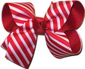 Medium Red and White Satin Stripe over Red Grosgrain