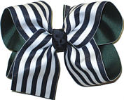 Evergreen with White and Navy Stripe Large Double Layer Bow