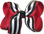 Red and Black with White Stripe Large Double Layer Bow