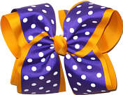 Regal Purple with White Dots Over Yellow Gold MEGA Extra Large Double Layer Bow