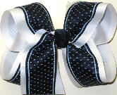 Navy with Blue Microdots over White Large Double Layer Bow
