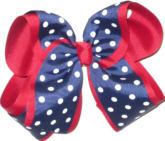 Navy with White Dots over Red MEGA Extra Large Double Layer Bow