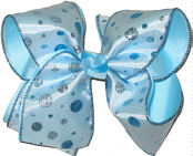 Chiffon with Blue and Silver Glitter Dots over Blue Large Double Layer Bow