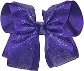 Chiffon Glitter over Purple Large Double Layer Bow