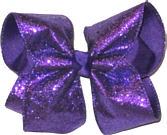 Purple Glitter over Purple Large Double Layer Bow