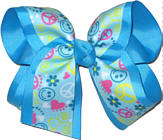 Peace Sign and Smiley Face over Mystic Blue Large Double Layer Bow