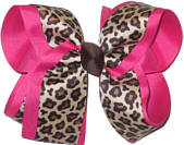 Cheeta over Shocking Pink Large Double Layer Bow