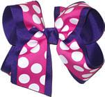 Shocking Pink with White Dots over Purple Large Double Layer Bow