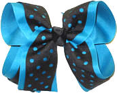 Turquoise and Black Large Double Layer Bow