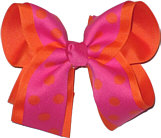 Shocking Pink with Orange Dots over Orange Large Double Layer Bow