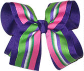 Green Delphinium White and Pink over Purple Large Double Layer Bow