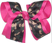 Camo over Hot Pink Large Double Layer Bow