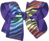 Rainbow Zebra over Purple Large Double Layer Bow