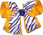 Purple and White Tiger Stripe over Yellow Gold Large Double Layer Bow