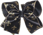Large Black Satin with Metallic Gold Fleur de Lis and Gold Edging with Black Knot Double Layer Overlay Bow