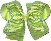 Chiffon Glitter Stripes over Lime Juice Large Double Layer Bow