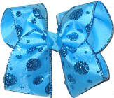 Chiffon Blue Glitter Dots over Blue Large Double Layer Bow