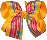 Multicolor Stripe over Yellow Gold Large Double Layer Bow