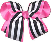 Hot Pink and Black with White Stripe Large Double Layer Bow