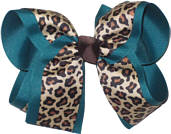 Cheeta over Teal Large Double Layer Bow
