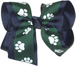 Evergreen and White over Navy Large Double Layer Bow