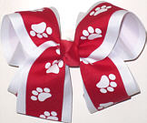 Red and White over White Large Double Layer Bow