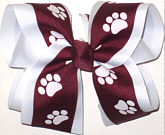 Burgundy and White over White Large Double Layer Bow