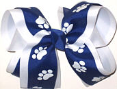 Large Century Blue and White over White School Bow