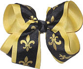 Large Black with Lemonaid Gold Fleur de Lis over Lemonaid Gold Double Layer Overlay Bow