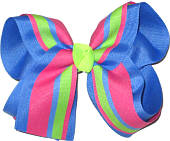 Pink Blue and Green over Capri Large Double Layer Bow