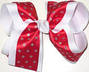 Red with Silver Glitter Dots over White Large Double Layer Bow